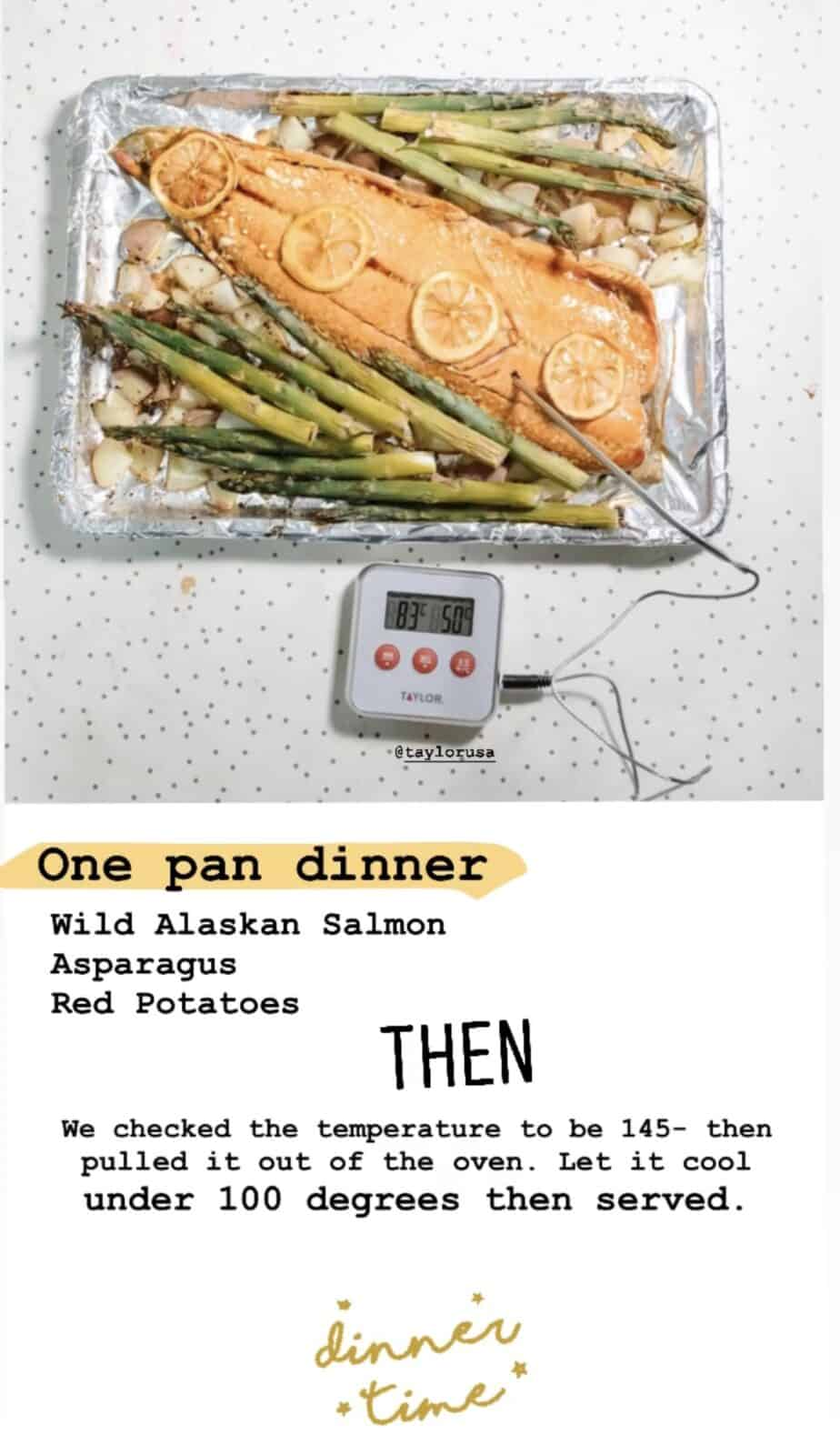 one pan dinner salmon Taylor Usa digital thermometer