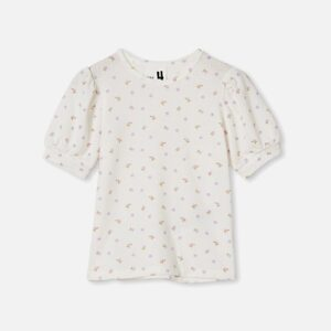 Jasmine Puff Sleeve Top in vanilla/ditsy floral