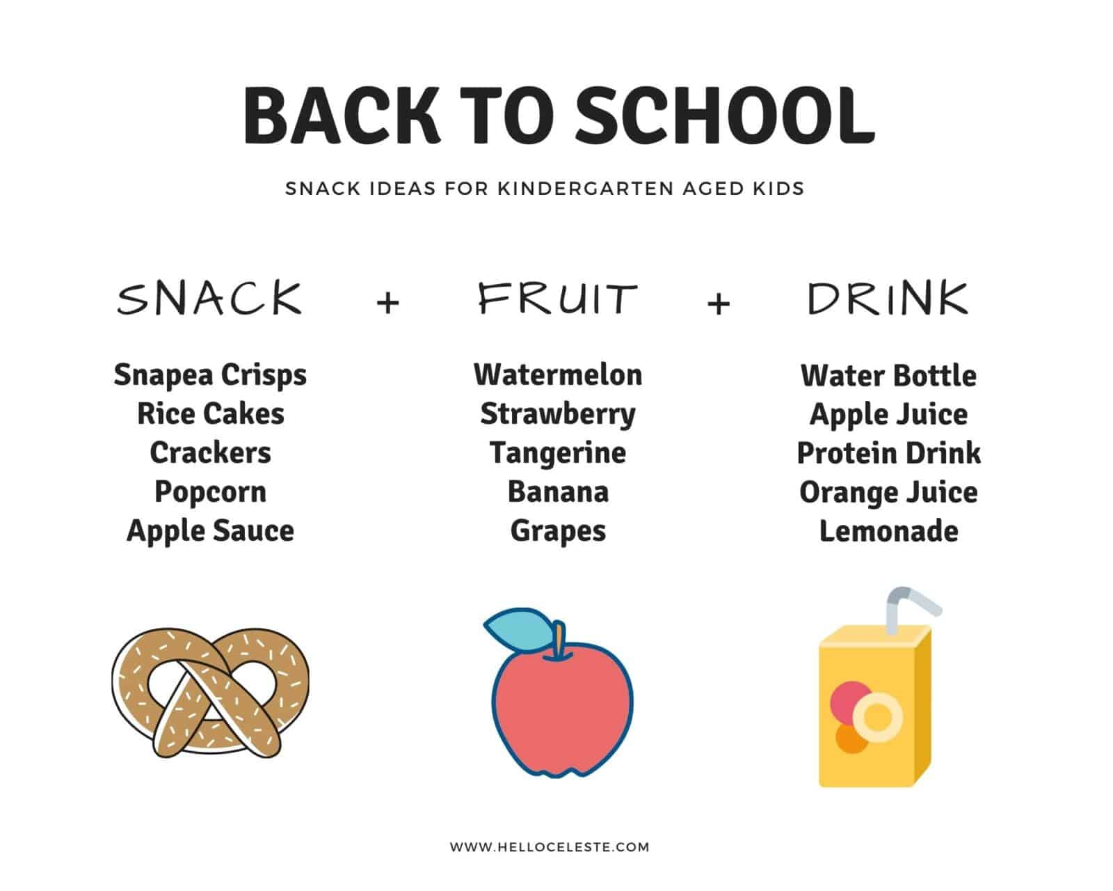 snack ideas for kindergarten aged Kids