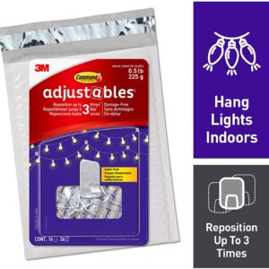 Command Adjustables Repositionable 0.5 lb Hooks, Clear