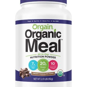 Orgain Organic Plant Based Meal Replacement Powder, Creamy Chocolate Fudge - 20g Protein, Vegan, Dairy Free, Gluten Free, Lactose Free, Kosher, Non-GMO, 2.01 Pound